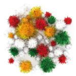 Pompons - couleurs métalliques - 1 à 2 cm - 72 pces