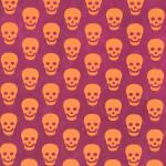 Papier Lokta Imprimé 50 x 75 cm Bordeaux motif Tête de mort orange