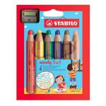 Crayon de couleur Stabilo Woody Étui 6 couleurs + taille-crayons